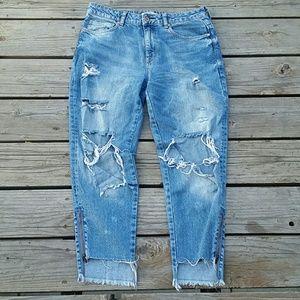 Zara Basic Denim Destroyed Jeans Sz 6 Womens